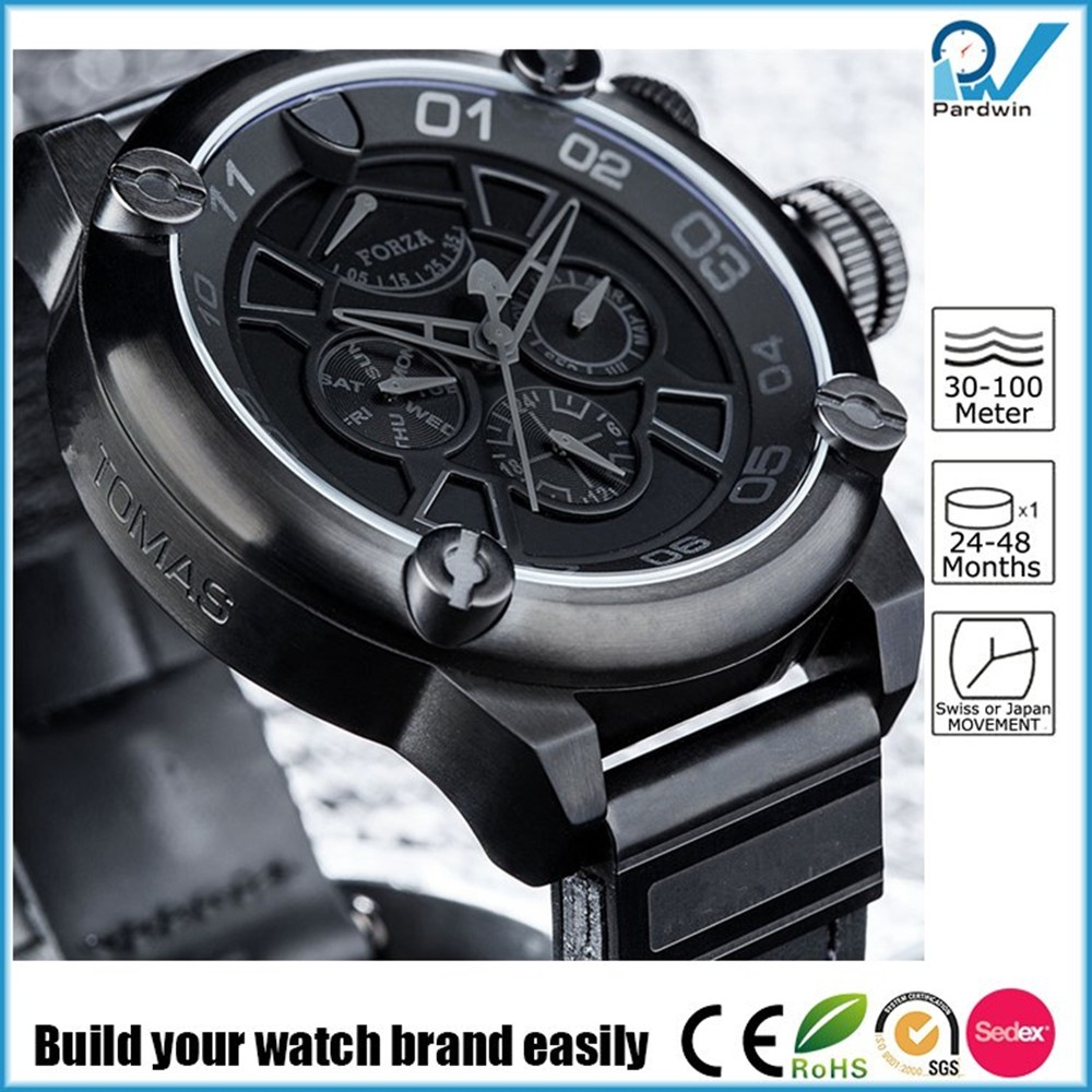 Stainless steel case dlc coating 9100 movement japan mechanical watch power reserve, date,day,month,24 hours function