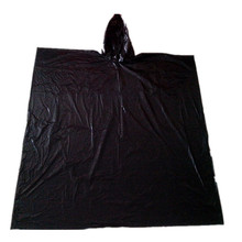 Emergency Promotional Adult waterproof black color pe disposable rain poncho/raincoat poncho