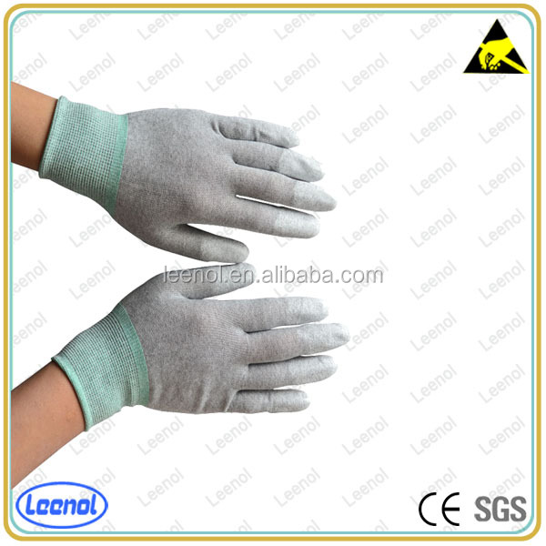 PU Top Fit Gloves PVC Dotted Carbon ESD Gloves