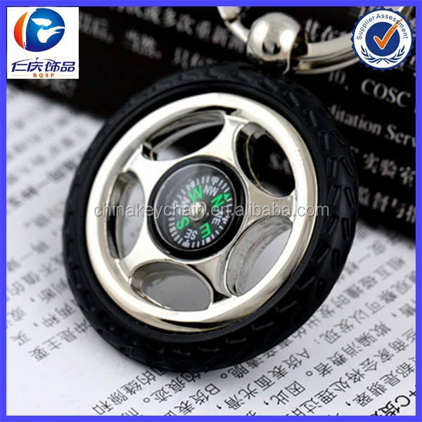 Metal Car Tire Keychain with Compass Function