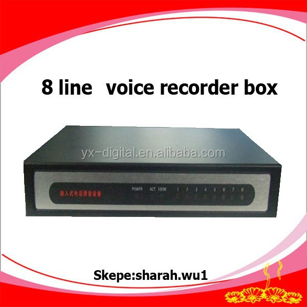High quality 8 line telephone line detector digital video recorder call recorder pstn