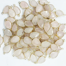 Faced Drop Shape Rose Quartz Nature Stone Beads Connectors Gold Plated <strong>Charms</strong> For Jewelry Making