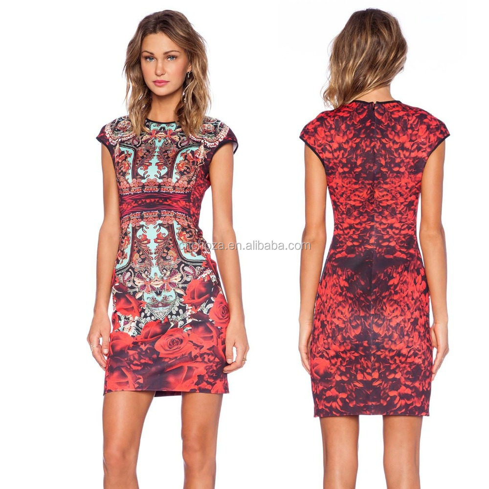 Z61085Y wholesale woman fashion dress design ladies printed dress short frock