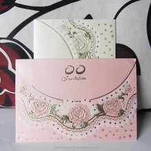 Tracing Paper Gold Rose Embossed Custom Fold Wedding Invitation Covers