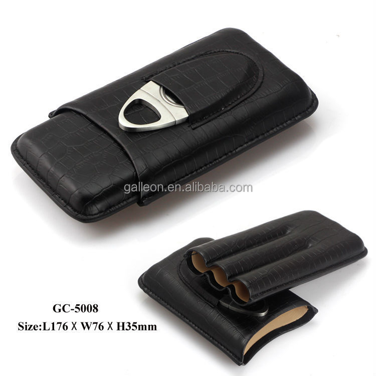 3CT crocodileleather travel cigar case humidor with cigar cutter Genuine leather cigar case