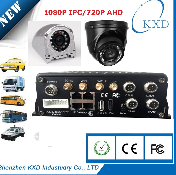 4CH Full AHD 720P Real Time 2x64 GB SD Card H.264 Mobile High focus DVR with GPS G-sensor
