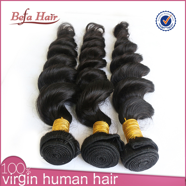 Long lasting tangle and shed free natural color befa hair wholesale virgin brazilian hair 3 bundles