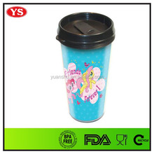 16oz plastic DIY thermos travel mug with removable paper insert