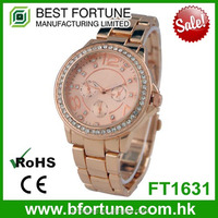 FT1631 Special Arabic number and stones dial all stainless steel watch