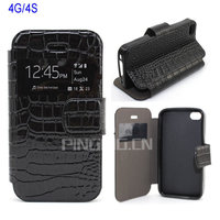 For Iphone 4 Window View Stand Crocodile Leather Case with Soft Tpu Case Inside