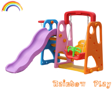 Colorful Multifunction indoor Plastic Slide with Swing for kids