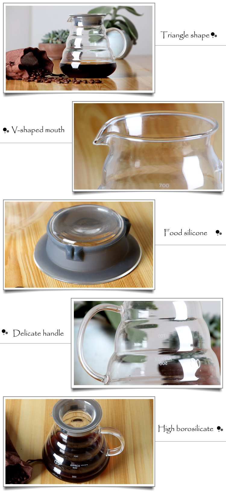 Clear Hand Art Glass Coffee Pot Cloud Shaped Tea Kettle with Stainless Steel Filter