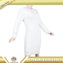 Sexy back V neck long sleeve muture ladies midi dress acrylic/polyester