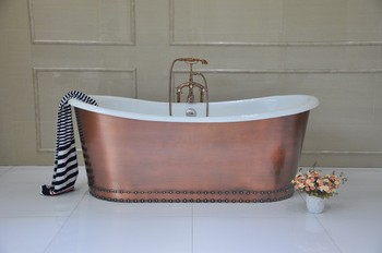 Hot Sale Antique Freestanding Cast Iron Tub Wrapped In Copper ...