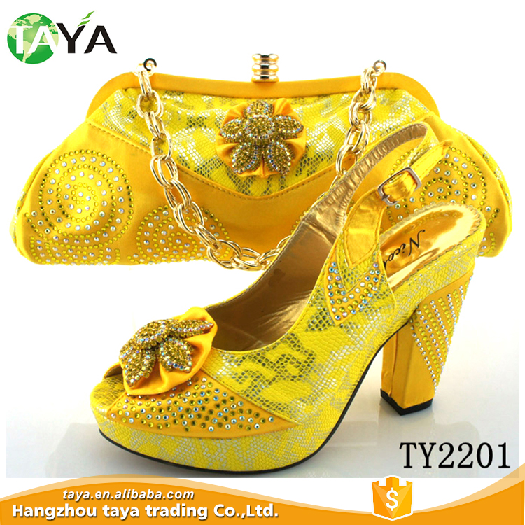 TY2201 gold women shoes match bag 2015 high quality shoes and bag