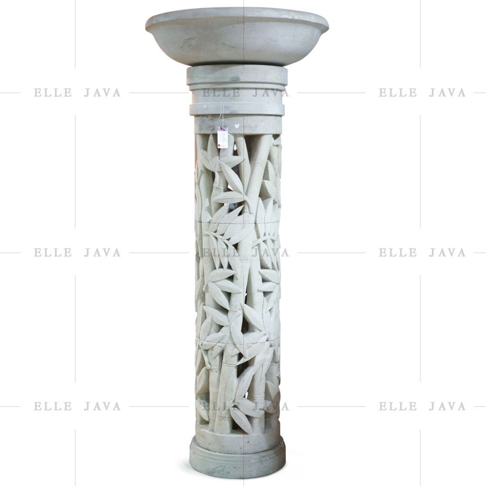High Round Stone Carving Design Flower Pot with Stand