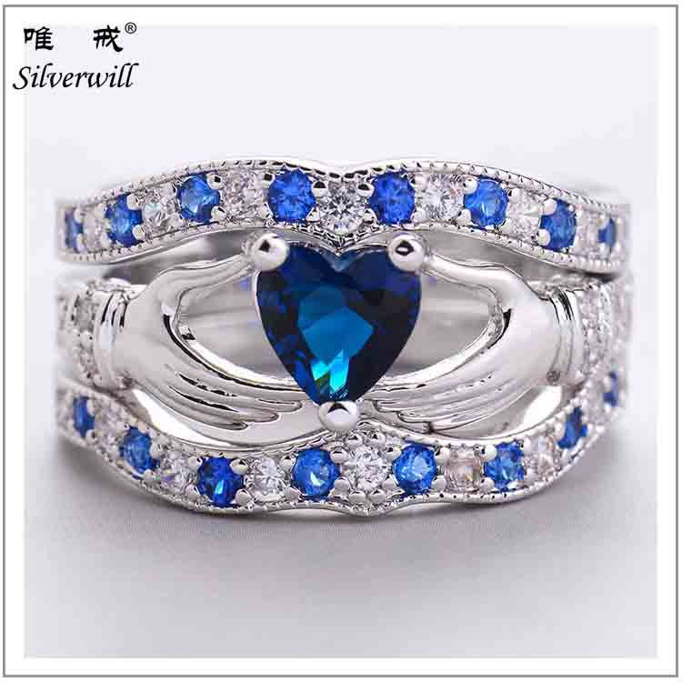 2017 hot sale 925 sterling silver cz diamond 3pcs claddagh rings for women