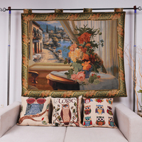 Cotton jacquard woven fabric wall hanging gobelin tapestry