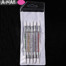 Two Way Hollow Sculpture Manicure Dotting Tools Rhinestone Handle Silicone Head Nail Art Brush Pen for Carving Emboss Shaping