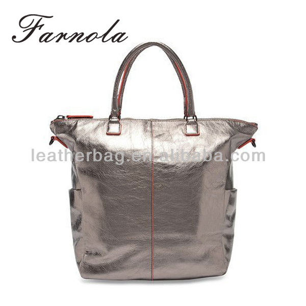 high quality ladies genuine leather silver handbag wholesale