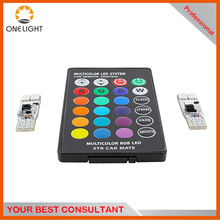Free sample!!!RGB multi color T10 led lamp 5050 car reading reverse parking light remote control with two in one set