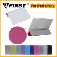 Fashional fold three flip stand pu leather case for iPad Air 2 , Hot selling three fold Smart Cover case for ipad 6