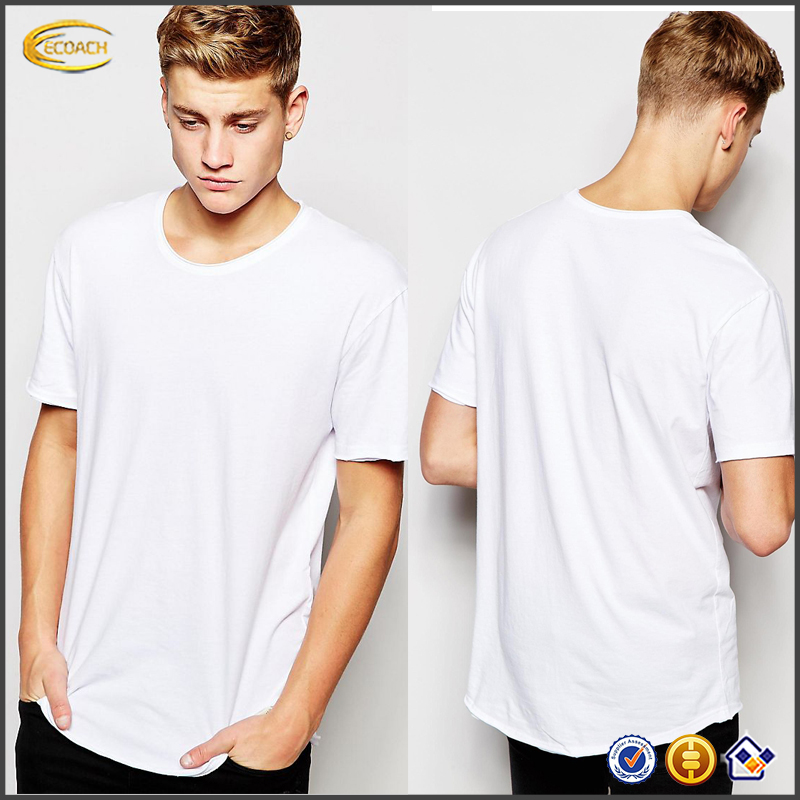 Ecoach Wholesale super Oversized fit Round neck short sleeve shirt Soft-touch cotton jersey white t-shirt with Dropped shoulders