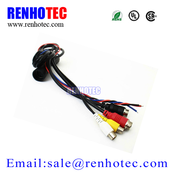DIN 13 Pin Plug Video Cable With RCA Connector For Car Reversing Camera