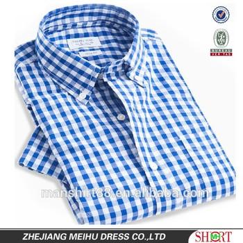 100 Organic Cotton Button Down Collar Gingham Check Short