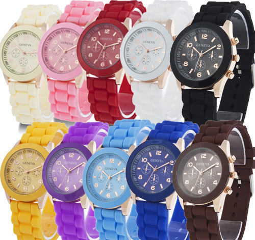 Korean version of fashionable silica gel colorful jelly students leisure watch