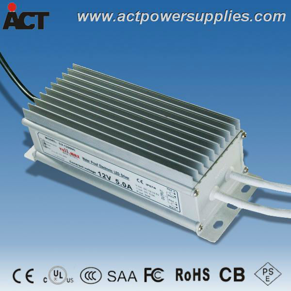 Constant voltage waterproof 60W 12V 5A LED driver