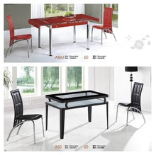 best price black simple glass dining table 6 chairs set factory sell directly YY6