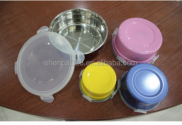 4 PCS Stainless Steel Colorful Mixing Bowl With Buckled Lids/Food Container/Serving Bowl