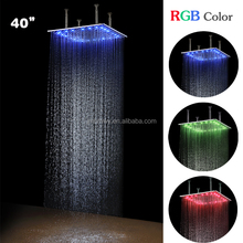 40 Inches Large Top Shower Head 1000mm 304 SS LED Colorful Rain Big Square Shower Head