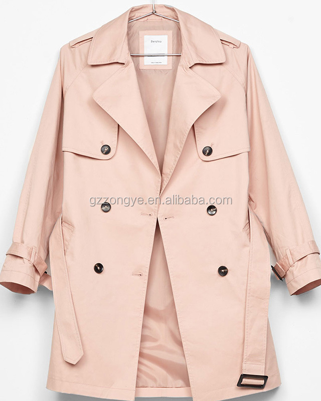 European style woman's coat medium woman belt lapel double-breasted trench coat China garment manufacture