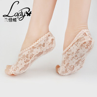 Blue butterfly cherish summer QWM009 candy solid lady boat socks toe lace socks socks mouth breathable contact