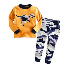wholesale nice boutique fashion long sleeve autumn winter fashion dinosaur yellow plain kids thermal pajamas