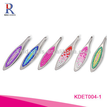 Wholesale Custom Logo Crystal Slanted Tweezers For Promotional Gift
