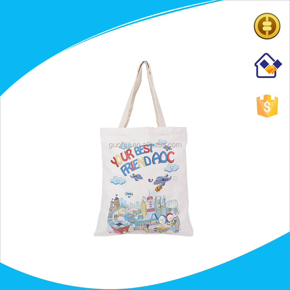 White plain cotton canvas tote bag with sublimation printing