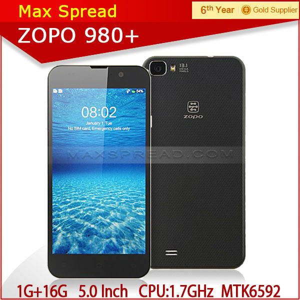 In Stock 5'' ZOPO ZP980+ ZP980 update MTK6592 Octa Core Android 4.2 3g wcdma cell phone