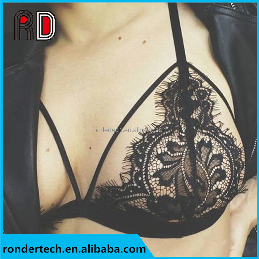 Women Fashion Black Sexy Lace Drawstring Thin Bralette Cross Straps Choker Soft Sheer Halter Bras