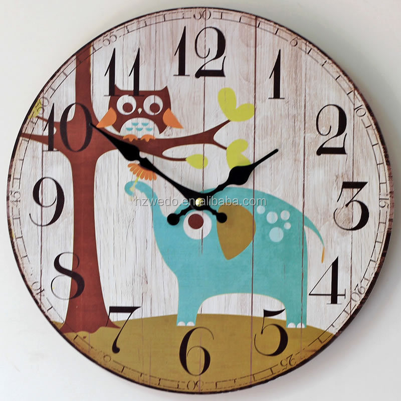 zakka home decoration wall clock painted owl elephant wooden electronic clock vintage home decor