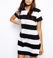 2016 Wholesale Black and White Stripe T-shirt Dress for Woman