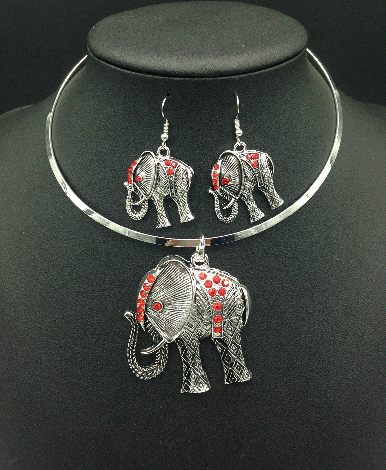 vintage lucky elephant collars necklace and earrings jewelry set