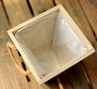 Rustic Whitewash Wood Planter Box with Plastic Liner