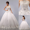 Elegant Sequnes and beaded Strapless off the shoulder sleeveless lace Wedding Dress 2015 Fashion Ball Gown organza Bridal Dress