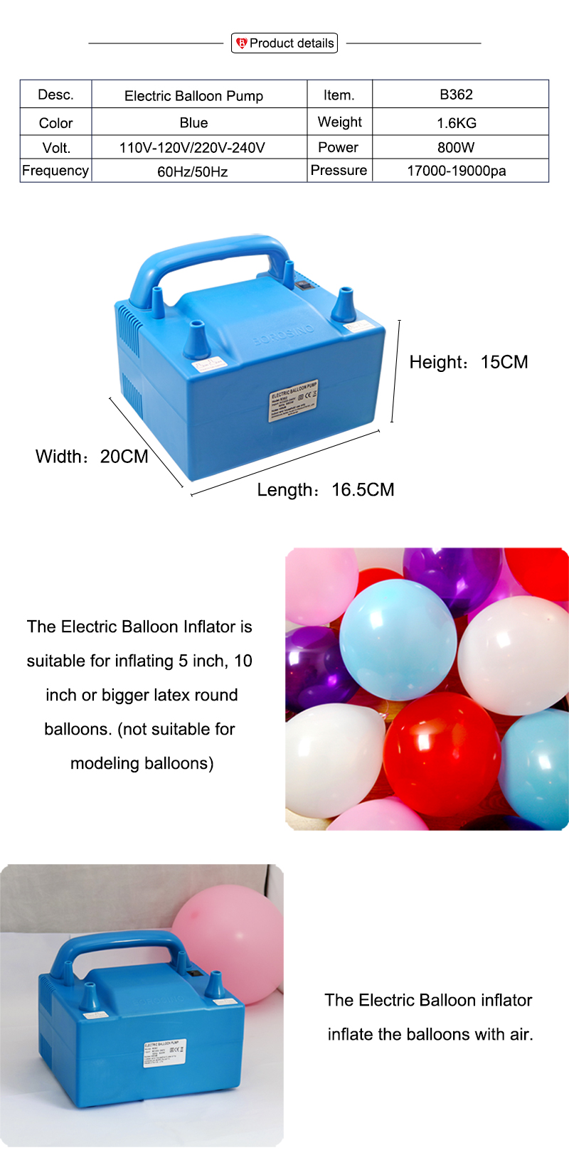 Borosino Party Decoration Two Nozzles Balloon Inflator Pump for Latex Balloons