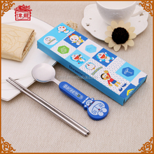 Cheap and Fine Fancy Children Cutlery Gift Stainless Steel Spoon and Chinese Chopsticks Cutlery Gift Set KTCJ001