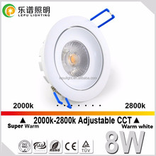 Norge 32mm height warm dim ultra slim furniture led downlight 8w Vanern 2000-2800K CCT change IP44