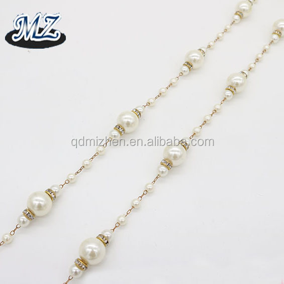 diamante rondelle brass accessory jewelry pearl beads chain